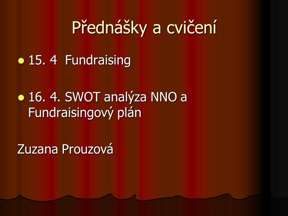 Přednášky a cvičení 15. 4 Fundraising 15. 4 Fundraising 16. 4. SWOT analýza NNO a Fundraisingový plán 16. 4. SWOT analýza NNO a Fundraisingový plán Zu