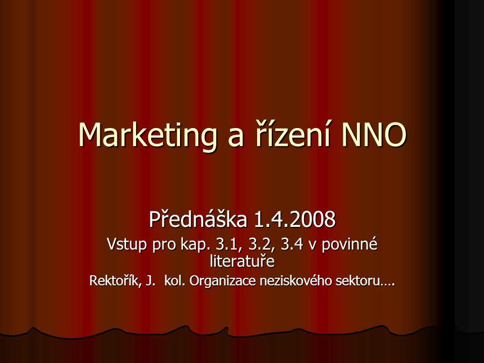Marketing a řízení NNO Přednáška 1.4.2008 Vstup pro kap. 3.1, 3.2, 3.4 v povinné literatuře Rektořík, J. kol. Organizace neziskového sektoru….
