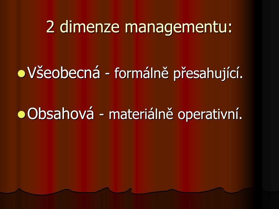 2 dimenze managementu: Všeobecná - formálně přesahující. Všeobecná - formálně přesahující. Obsahová - materiálně operativní. Obsahová - materiálně ope