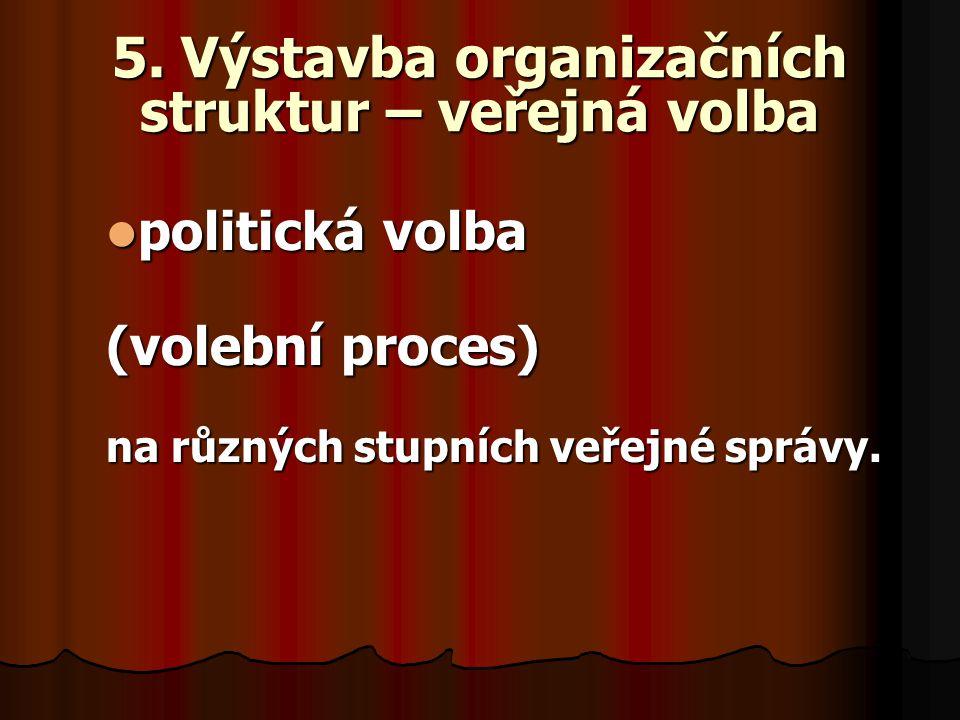 5. Výstavba organizačních struktur – veřejná volba politická volba politická volba (volební proces) na různých stupních veřejné správy.