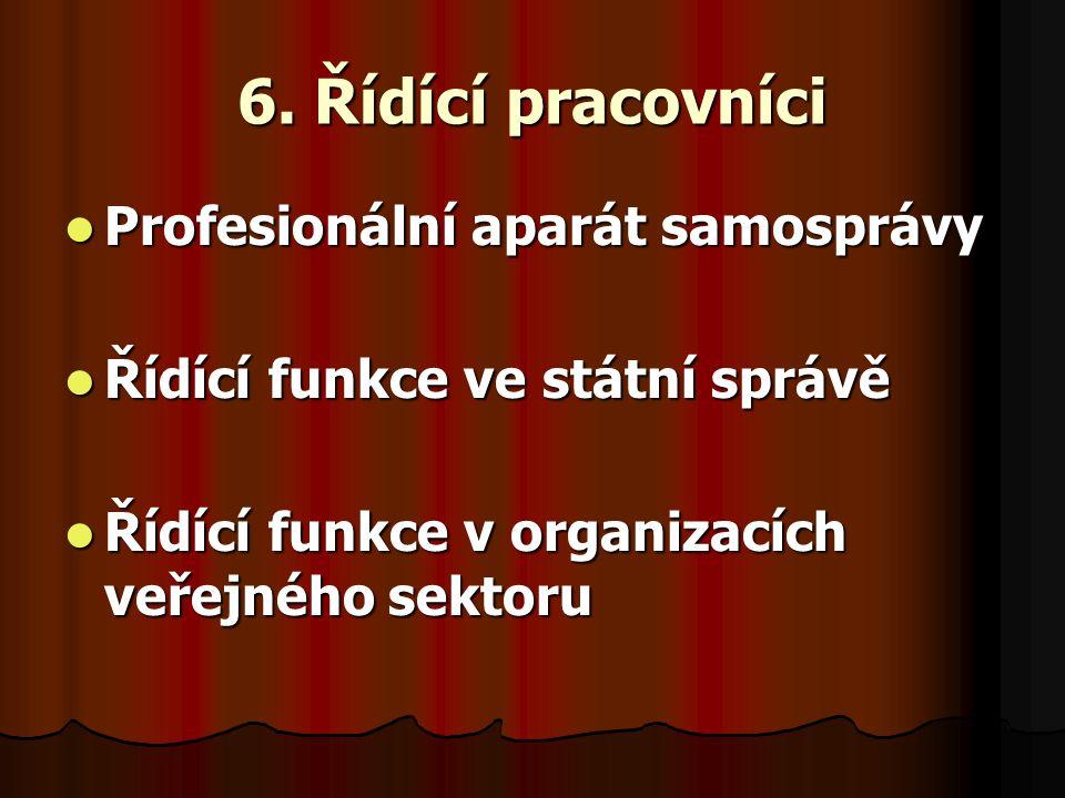 6. Řídící pracovníci Profesionální aparát samosprávy Profesionální aparát samosprávy Řídící funkce ve státní správě Řídící funkce ve státní správě Říd