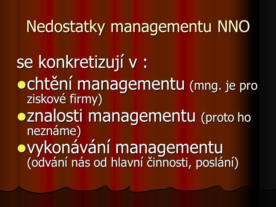 Nedostatky managementu NNO se konkretizují v : chtění managementu (mng. je pro ziskové firmy) chtění managementu (mng. je pro ziskové firmy) znalosti