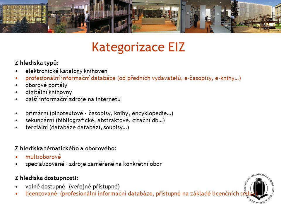 Kategorizace EIZ Z hlediska typů: elektronické katalogy knihoven profesionální informační databáze (od předních vydavatelů, e-časopisy, e-knihy…) obor