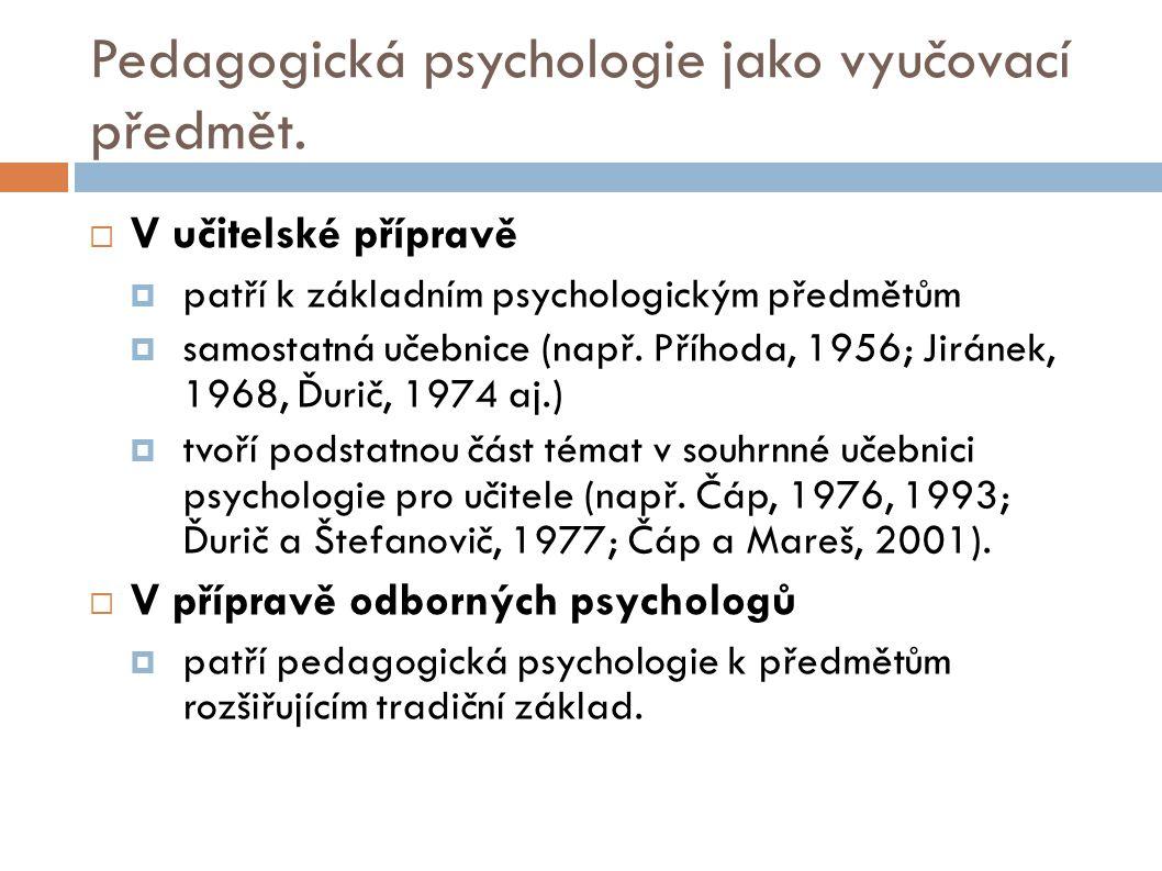 Pedagogická psychologie jako vyučovací předmět.  V učitelské přípravě  patří k základním psychologickým předmětům  samostatná učebnice (např. Přího