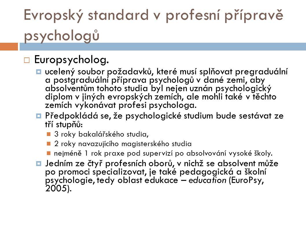 Evropský standard v profesní přípravě psychologů  Europsycholog.  ucelený soubor požadavků, které musí splňovat pregraduální a postgraduální příprav