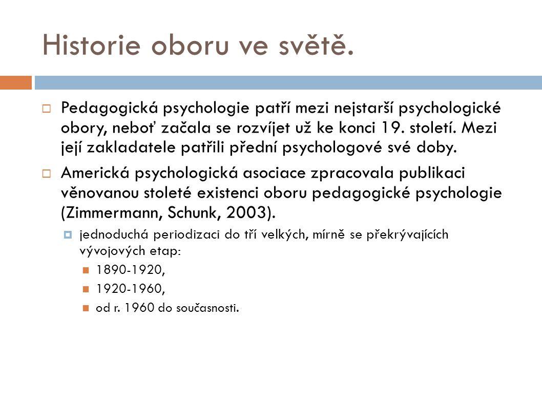 Historie oboru ve světě.  Pedagogická psychologie patří mezi nejstarší psychologické obory, neboť začala se rozvíjet už ke konci 19. století. Mezi je