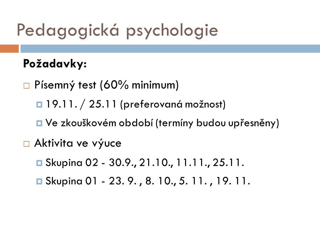 Pedagogická psychologie Požadavky:  Písemný test (60% minimum)  19.11. / 25.11 (preferovaná možnost)  Ve zkouškovém období (termíny budou upřesněny