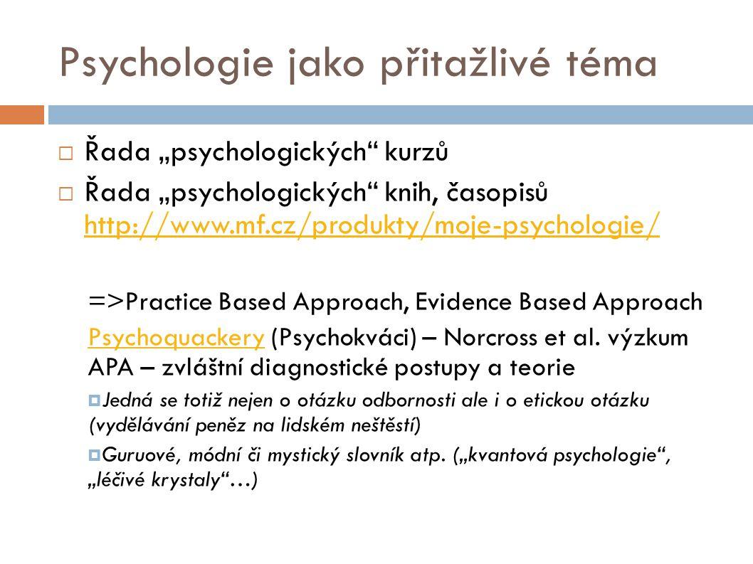 """Psychologie jako přitažlivé téma  Řada """"psychologických"""" kurzů  Řada """"psychologických"""" knih, časopisů http://www.mf.cz/produkty/moje-psychologie/ ht"""