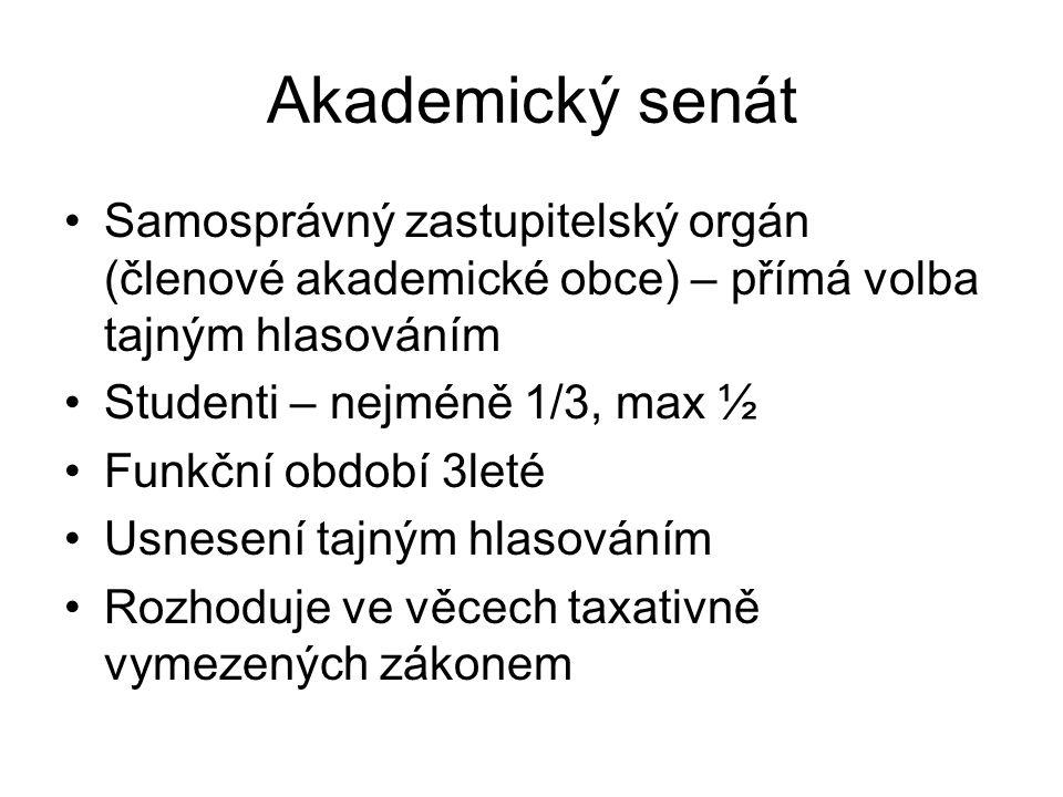 Akademický senát Samosprávný zastupitelský orgán (členové akademické obce) – přímá volba tajným hlasováním Studenti – nejméně 1/3, max ½ Funkční období 3leté Usnesení tajným hlasováním Rozhoduje ve věcech taxativně vymezených zákonem