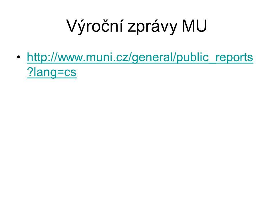 Výroční zprávy MU http://www.muni.cz/general/public_reports ?lang=cshttp://www.muni.cz/general/public_reports ?lang=cs