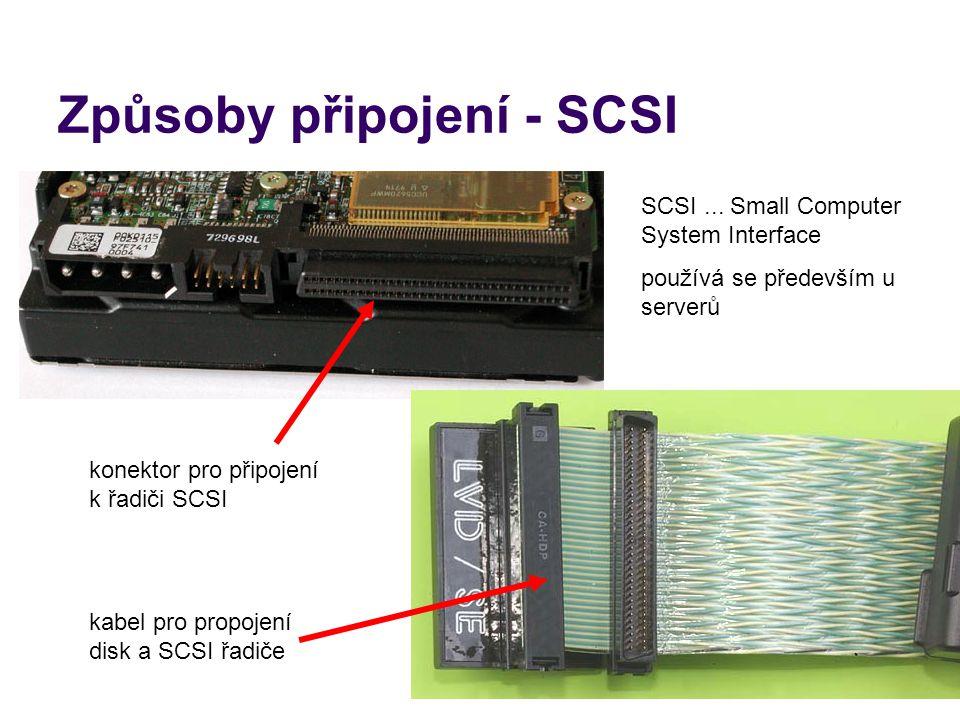Způsoby připojení - SCSI SCSI... Small Computer System Interface používá se především u serverů konektor pro připojení k řadiči SCSI kabel pro propoje