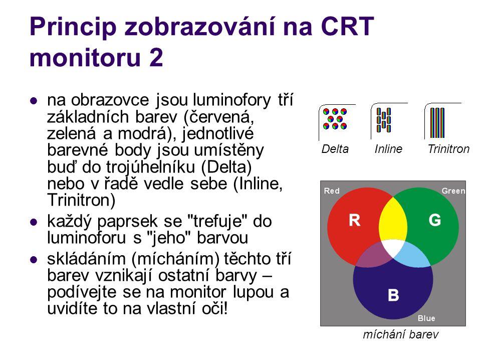 Princip zobrazování na CRT monitoru 2 na obrazovce jsou luminofory tří základních barev (červená, zelená a modrá), jednotlivé barevné body jsou umístě