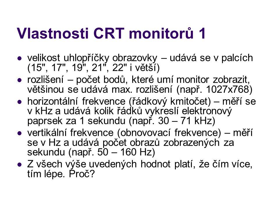 Vlastnosti CRT monitorů 1 velikost uhlopříčky obrazovky – udává se v palcích (15
