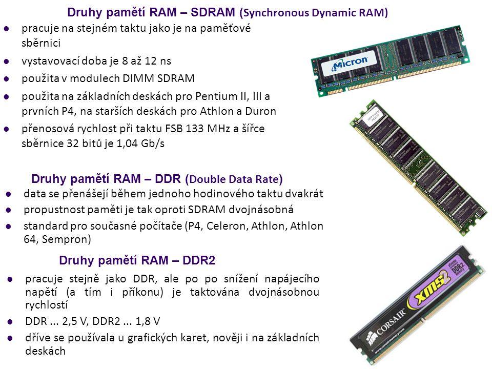 Druhy pamětí RAM – SDRAM ( Synchronous Dynamic RAM) pracuje na stejném taktu jako je na paměťové sběrnici vystavovací doba je 8 až 12 ns použita v mod