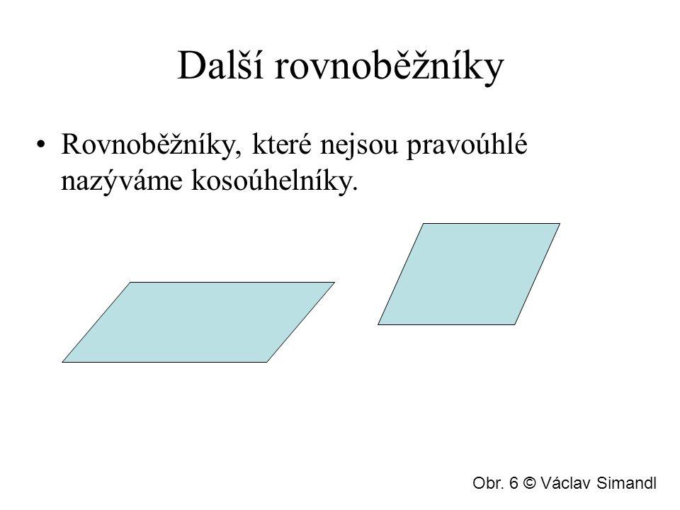 Další rovnoběžníky Rovnoběžníky, které nejsou pravoúhlé nazýváme kosoúhelníky. Obr. 6 © Václav Simandl