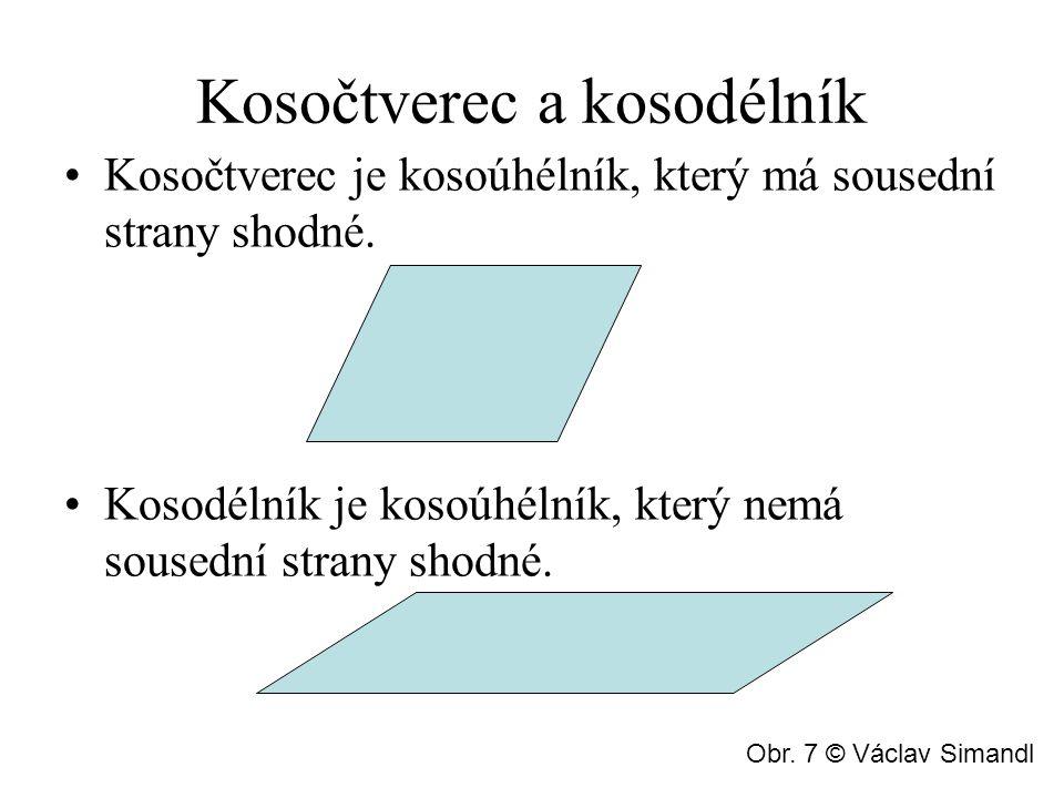 Kosočtverec a kosodélník Kosočtverec je kosoúhélník, který má sousední strany shodné. Kosodélník je kosoúhélník, který nemá sousední strany shodné. Ob