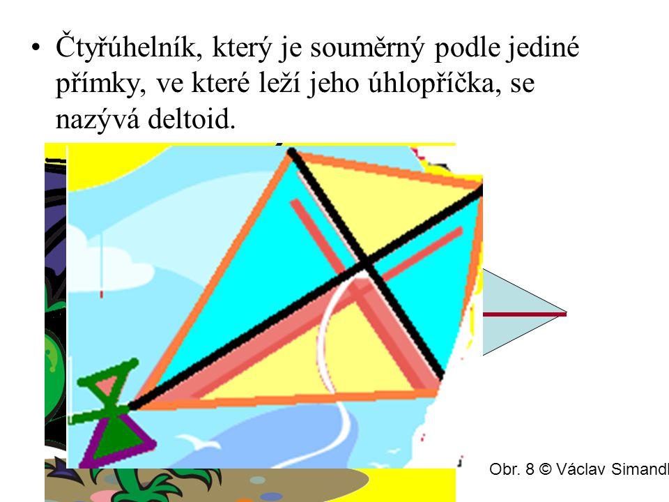 Čtyřúhelník, který je souměrný podle jediné přímky, ve které leží jeho úhlopříčka, se nazývá deltoid. Obr. 8 © Václav Simandl