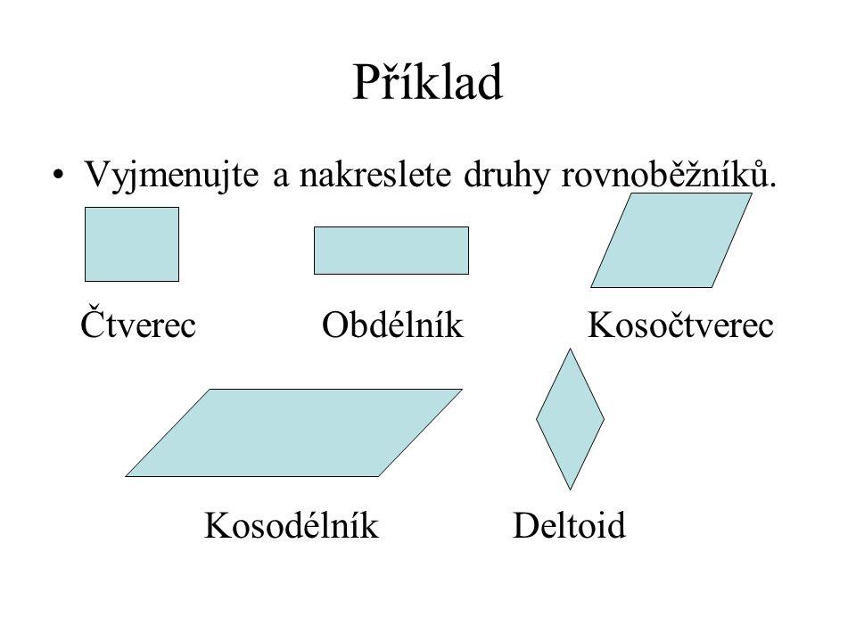 Příklad Vyjmenujte a nakreslete druhy rovnoběžníků. Čtverec Obdélník Kosočtverec Kosodélník Deltoid