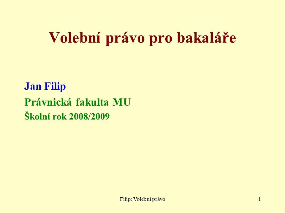 Filip: Volební právo1 Volební právo pro bakaláře Jan Filip Právnická fakulta MU Školní rok 2008/2009