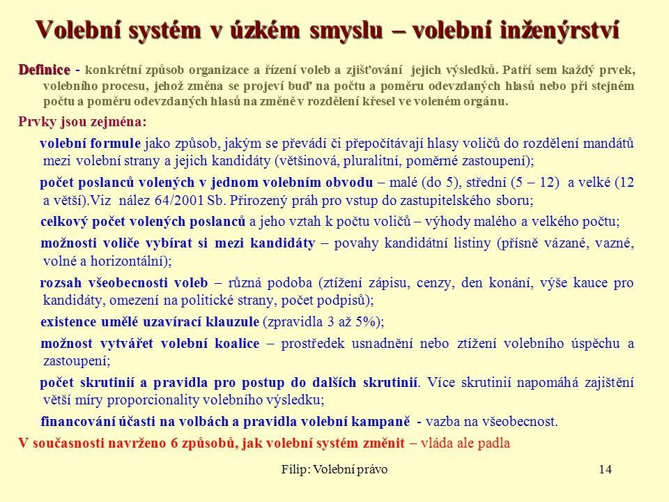 Filip: Volební právo14 Volební systém v úzkém smyslu – volební inženýrství Definice Definice - konkrétní způsob organizace a řízení voleb a zjišťování