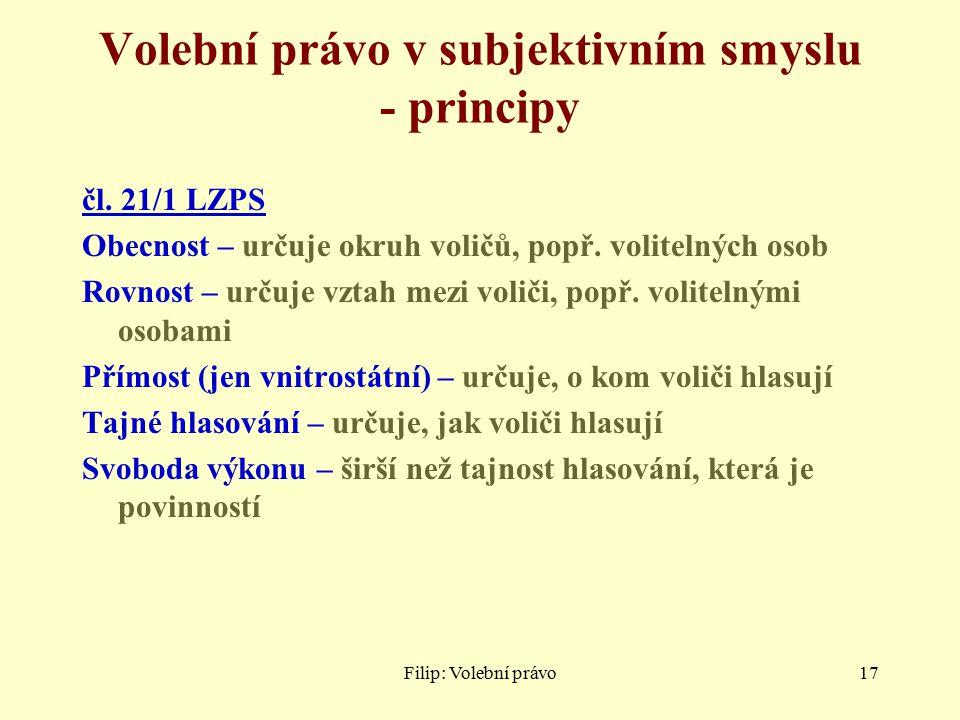 Filip: Volební právo17 Volební právo v subjektivním smyslu - principy čl.