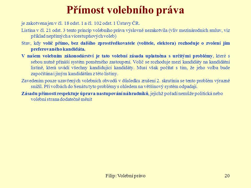 Filip: Volební právo20 Přímost volebního práva je zakotvena jen v čl.