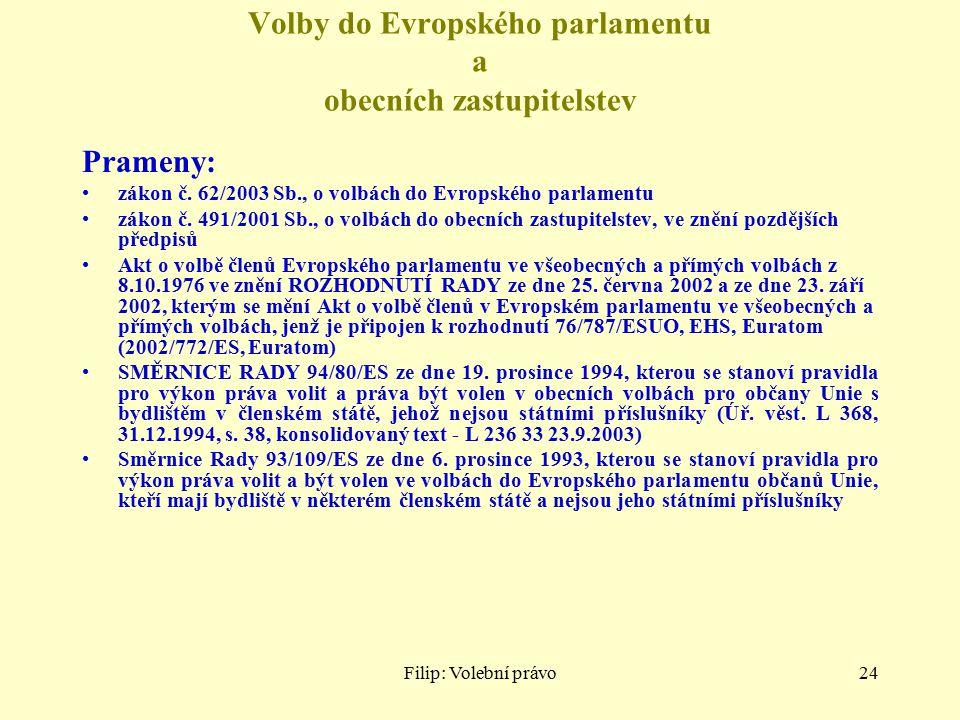 Filip: Volební právo24 Volby do Evropského parlamentu a obecních zastupitelstev Prameny: zákon č. 62/2003 Sb., o volbách do Evropského parlamentu záko