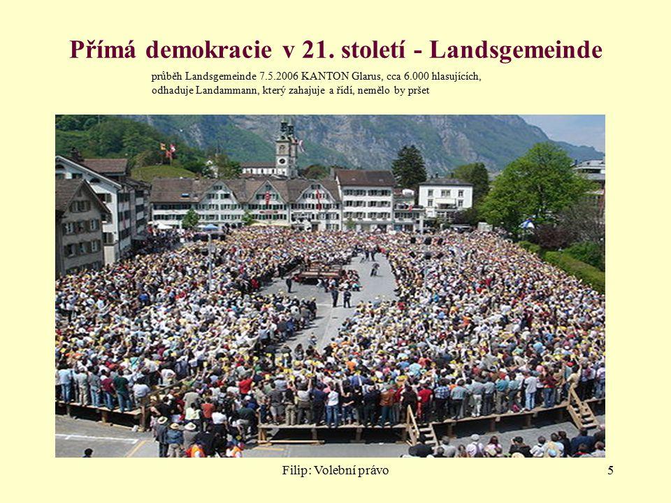 Filip: Volební právo5 Přímá demokracie v 21. století - Landsgemeinde průběh Landsgemeinde 7.5.2006 KANTON Glarus, cca 6.000 hlasujících, odhaduje Land