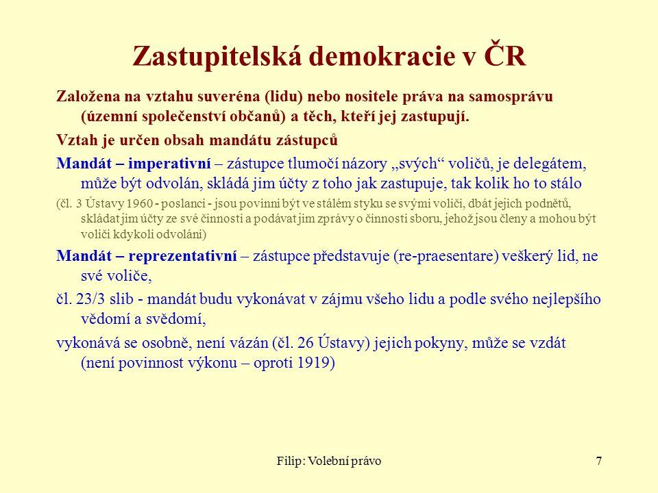Filip: Volební právo7 Zastupitelská demokracie v ČR Založena na vztahu suveréna (lidu) nebo nositele práva na samosprávu (územní společenství občanů) a těch, kteří jej zastupují.