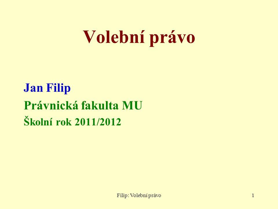 Filip: Volební právo1 Volební právo Jan Filip Právnická fakulta MU Školní rok 2011/2012