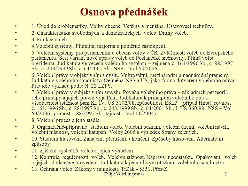 Filip: Volební právo53 Námitkové (reklamační) řízení Původně – demokratická kontrola – volič mohl nahlížet a namítat Nyní již (§ 28 odst.