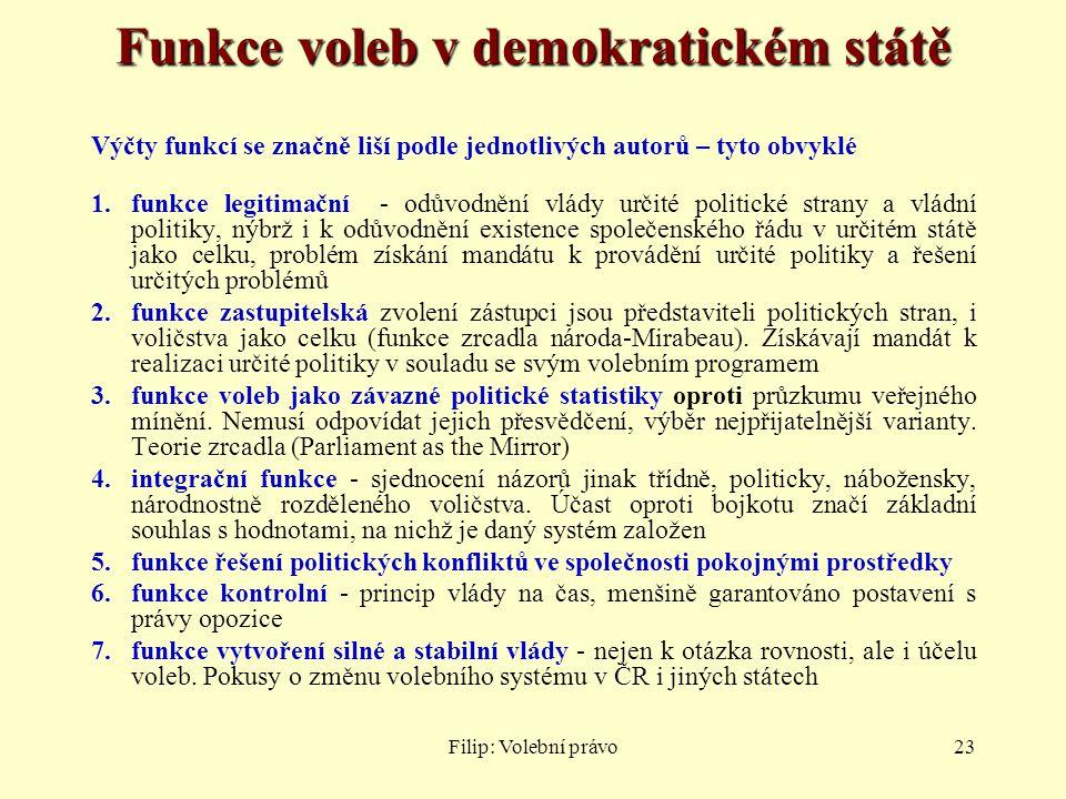 Filip: Volební právo23 Funkce voleb v demokratickém státě Výčty funkcí se značně liší podle jednotlivých autorů – tyto obvyklé 1.funkce legitimační -