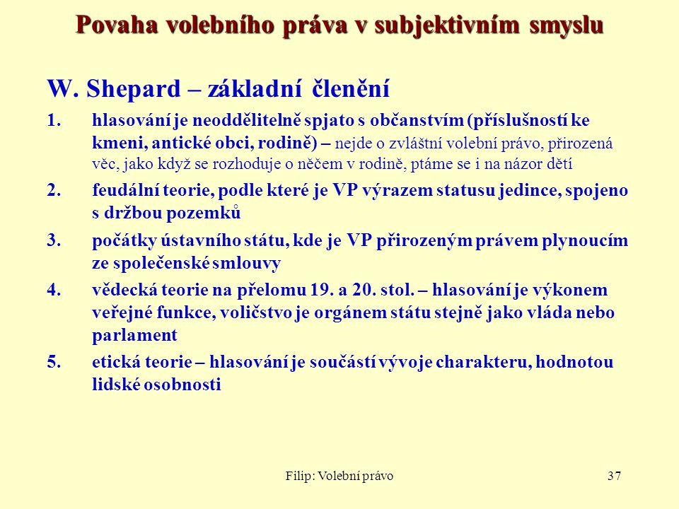 Filip: Volební právo37 Povaha volebního práva v subjektivním smyslu W. Shepard – základní členění 1.hlasování je neoddělitelně spjato s občanstvím (př