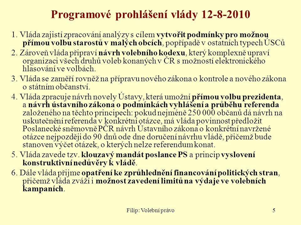Filip: Volební právo5 Programové prohlášení vlády 12-8-2010 1. Vláda zajistí zpracování analýzy s cílem vytvořit podmínky pro možnou přímou volbu star
