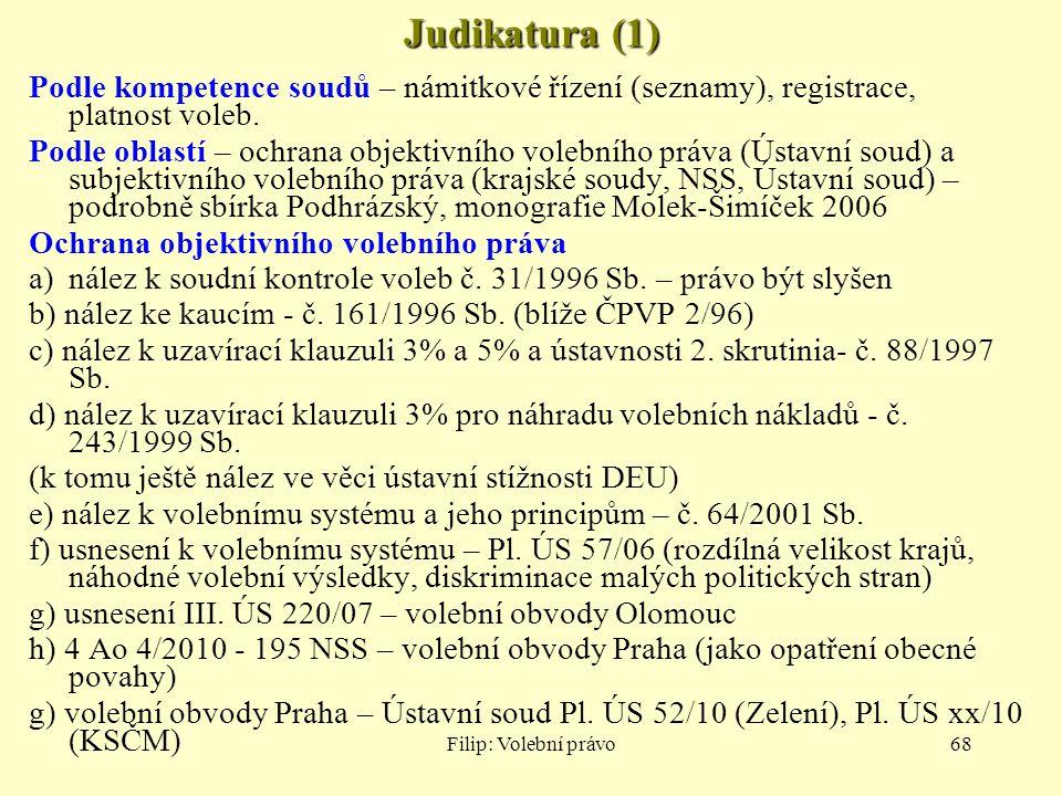 Filip: Volební právo68 Judikatura (1) Podle kompetence soudů – námitkové řízení (seznamy), registrace, platnost voleb. Podle oblastí – ochrana objekti