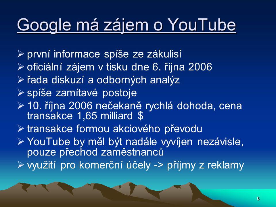 6 Google má zájem o YouTube  první informace spíše ze zákulisí  oficiální zájem v tisku dne 6.