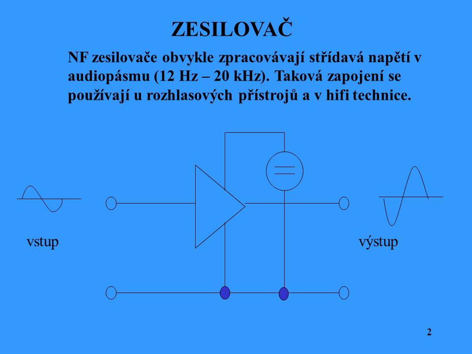 ZESILOVAČ NF zesilovače obvykle zpracovávají střídavá napětí v audiopásmu (12 Hz – 20 kHz). Taková zapojení se používají u rozhlasových přístrojů a v