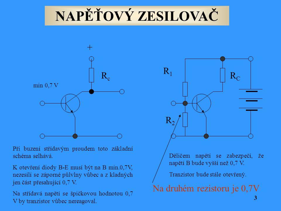 NAPĚŤOVÝ ZESILOVAČ R1R1 R2R2 RCRC RcRc + min 0,7 V Při buzení střídavým proudem toto základní schéma selhává. K otevření diody B-E musí být na B min.0