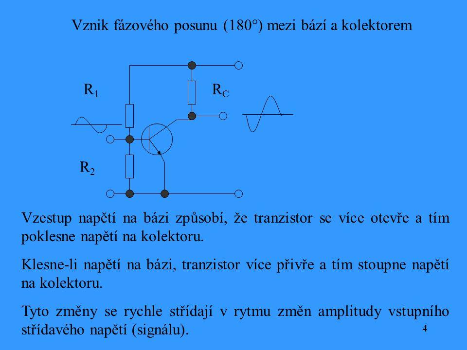 Vznik fázového posunu (180°) mezi bází a kolektorem 4 R1R1 R2R2 RCRC Vzestup napětí na bázi způsobí, že tranzistor se více otevře a tím poklesne napět