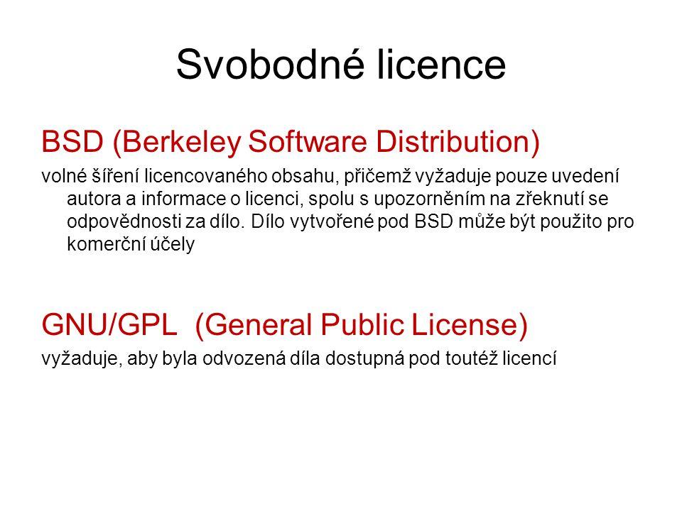 Svobodné licence BSD (Berkeley Software Distribution) volné šíření licencovaného obsahu, přičemž vyžaduje pouze uvedení autora a informace o licenci,