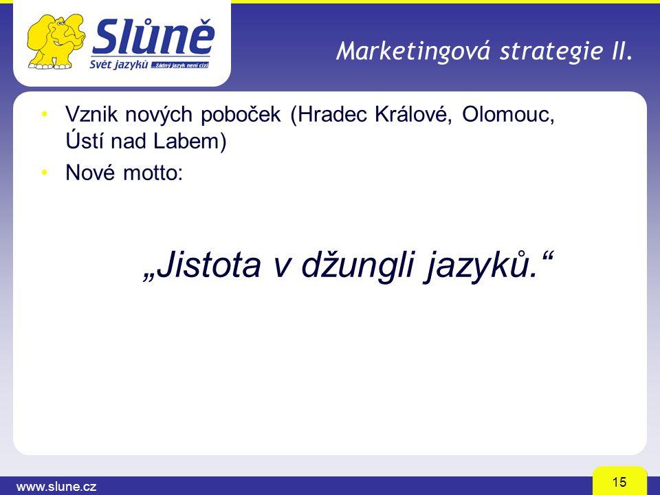"""www.slune.cz 15 Marketingová strategie II. Vznik nových poboček (Hradec Králové, Olomouc, Ústí nad Labem) Nové motto: """"Jistota v džungli jazyků."""""""