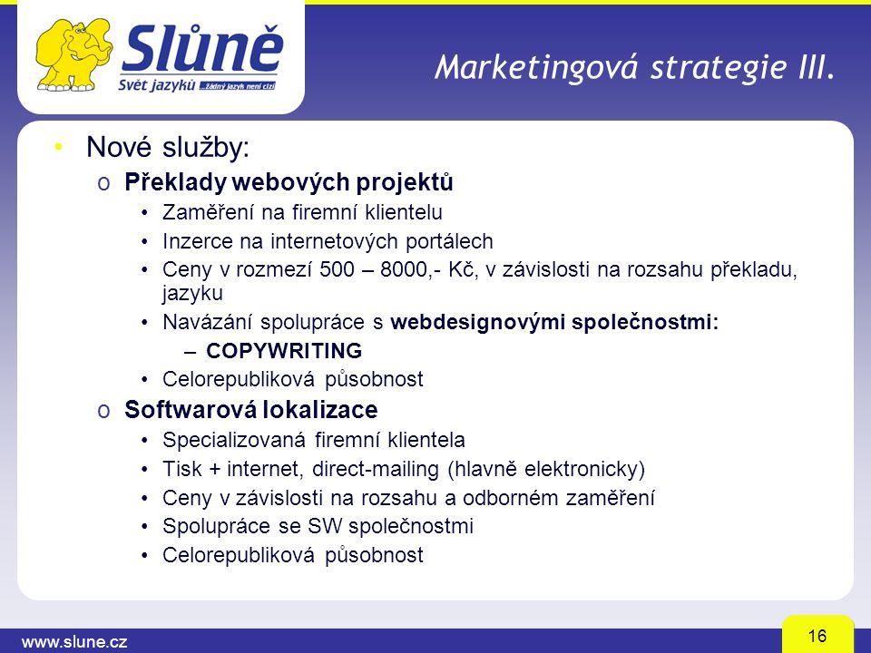 www.slune.cz 16 Marketingová strategie III. Nové služby: oPřeklady webových projektů Zaměření na firemní klientelu Inzerce na internetových portálech