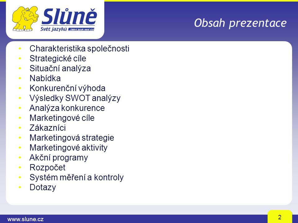 www.slune.cz 2 Obsah prezentace Charakteristika společnosti Strategické cíle Situační analýza Nabídka Konkurenční výhoda Výsledky SWOT analýzy Analýza