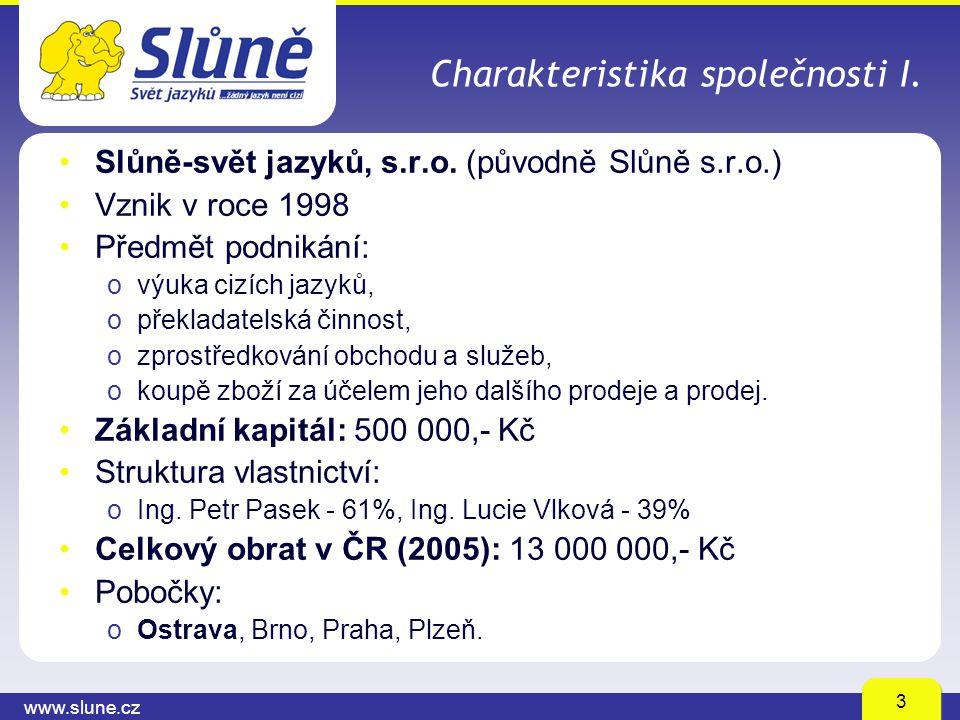 www.slune.cz 3 Charakteristika společnosti I. Slůně-svět jazyků, s.r.o. (původně Slůně s.r.o.) Vznik v roce 1998 Předmět podnikání: ovýuka cizích jazy