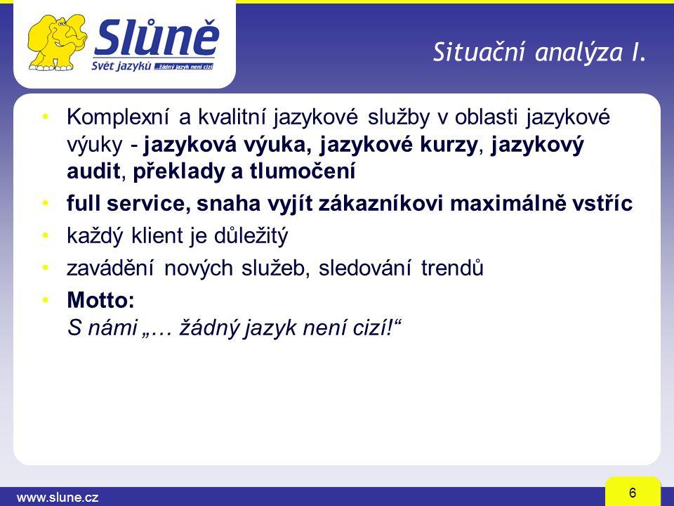 www.slune.cz 6 Situační analýza I. Komplexní a kvalitní jazykové služby v oblasti jazykové výuky - jazyková výuka, jazykové kurzy, jazykový audit, pře