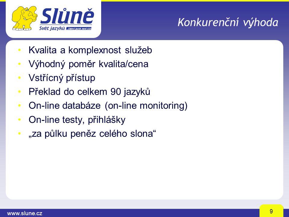 """www.slune.cz 9 Konkurenční výhoda Kvalita a komplexnost služeb Výhodný poměr kvalita/cena Vstřícný přístup Překlad do celkem 90 jazyků On-line databáze (on-line monitoring) On-line testy, přihlášky """"za půlku peněz celého slona"""