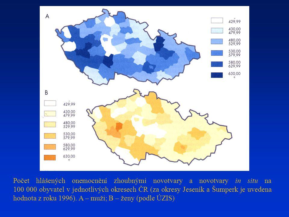Počet hlášených onemocnění zhoubnými novotvary a novotvary in situ na 100 000 obyvatel v jednotlivých okresech ČR (za okresy Jeseník a Šumperk je uved