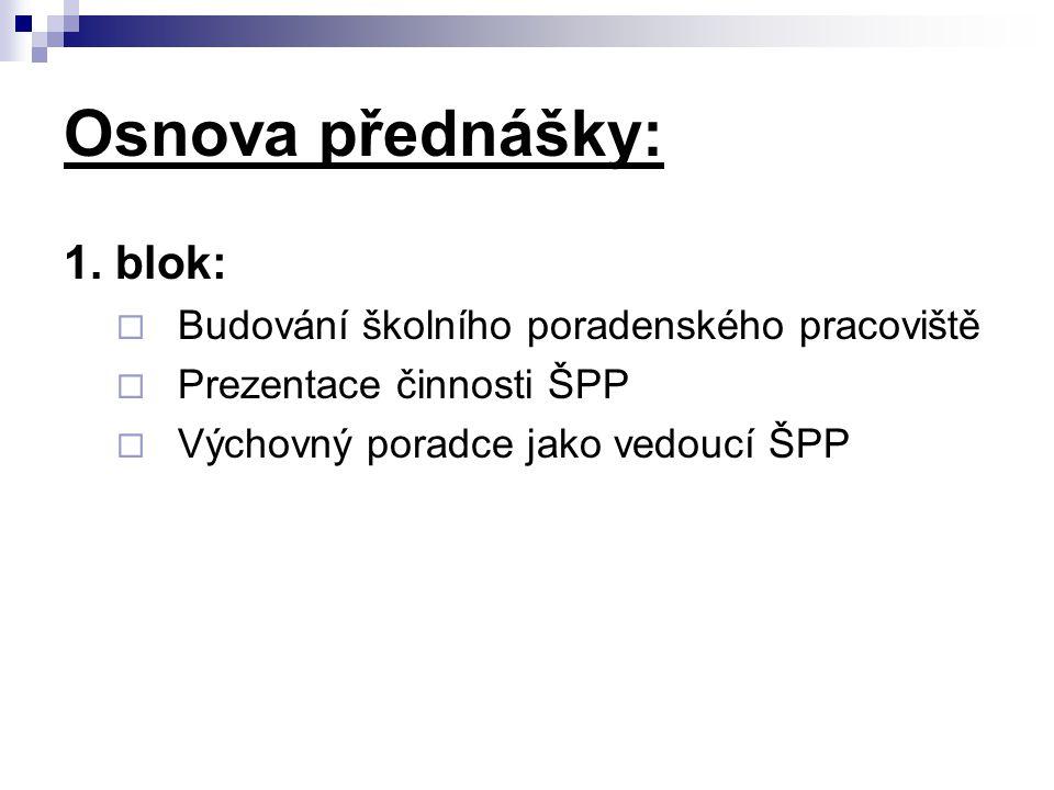 Osnova přednášky: 1. blok:  Budování školního poradenského pracoviště  Prezentace činnosti ŠPP  Výchovný poradce jako vedoucí ŠPP