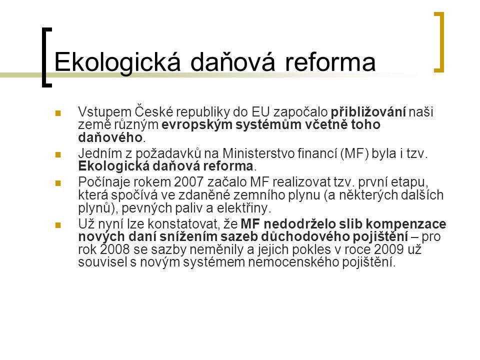 Ekologická daňová reforma Vstupem České republiky do EU započalo přibližování naši země různým evropským systémům včetně toho daňového. Jedním z požad