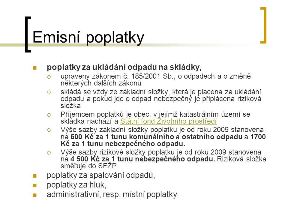 Emisní poplatky poplatky za ukládání odpadů na skládky,  upraveny zákonem č.